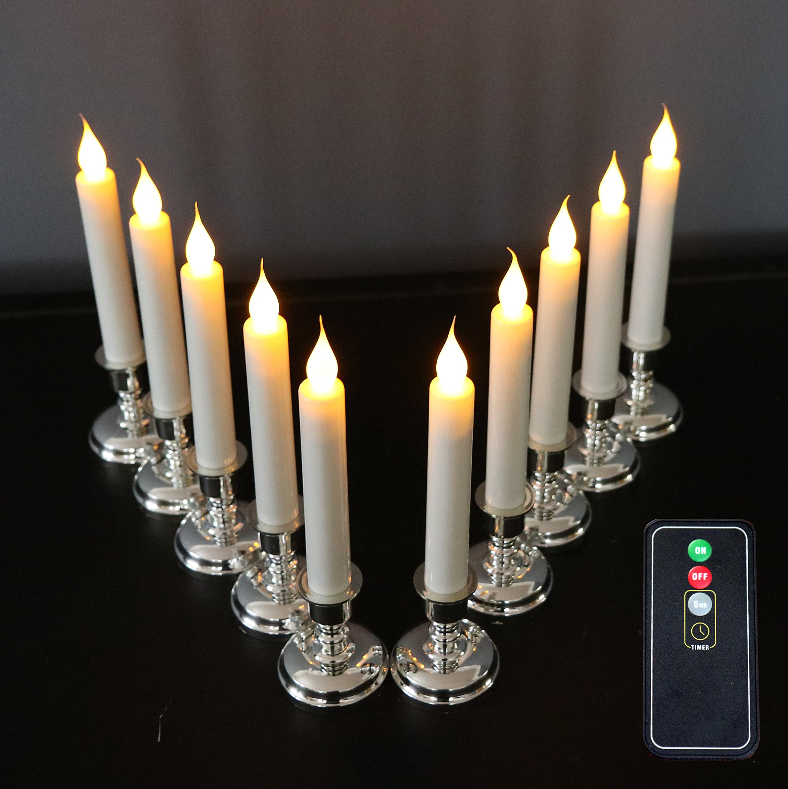 Set of 10 Flameless White Taper Window Candles with Removable Silver Candleholders with Timer and Remote, Batteries Included by Enchanted Spaces (Image #8)