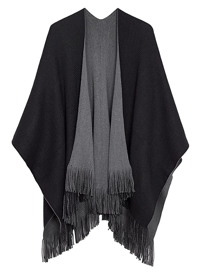 Urban CoCo Women's Vintage Poncho Cape Tassel Shawl Wrap Cardigan Coat (Black)
