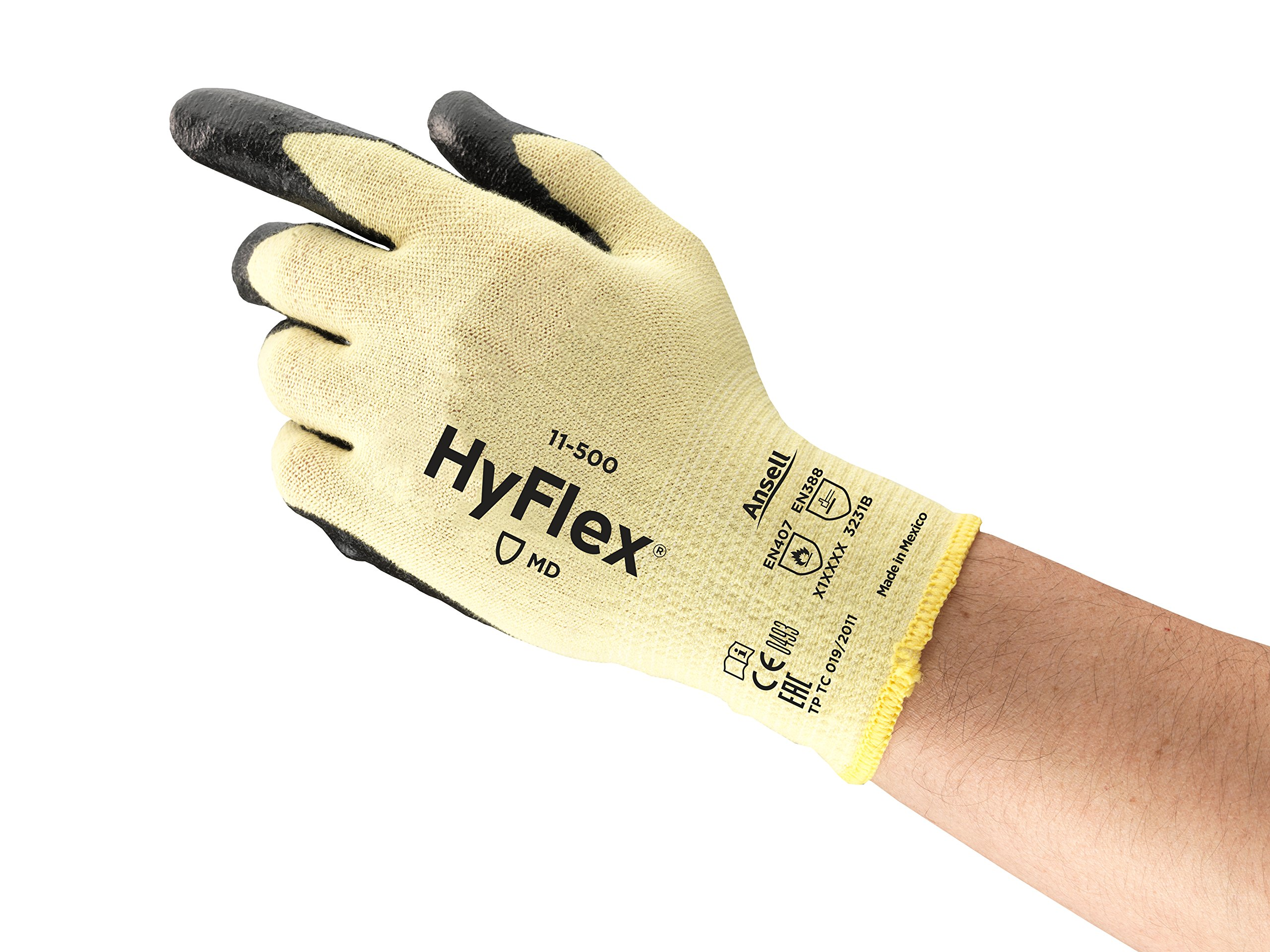 Ansell HyFlex 11-500 Kevlar Glove, Cut Resistant, Black Foam Nitrile Coating, Knit Wrist Cuff, Large, Size 9 (Pack of 12)