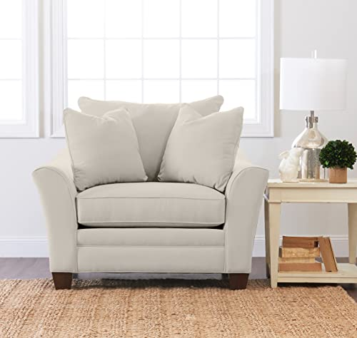 Klaussner Home Furnishings Paxton Accent Armchair with 2 Throw Pillows, 44 L x 53 W x 31 H, Sand