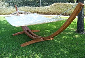 Petras Wooden Arc Hammock Stand + Quilted Beige Color Double Hammock Bed, Double Padded. Teak Finish. 2 Person Bed