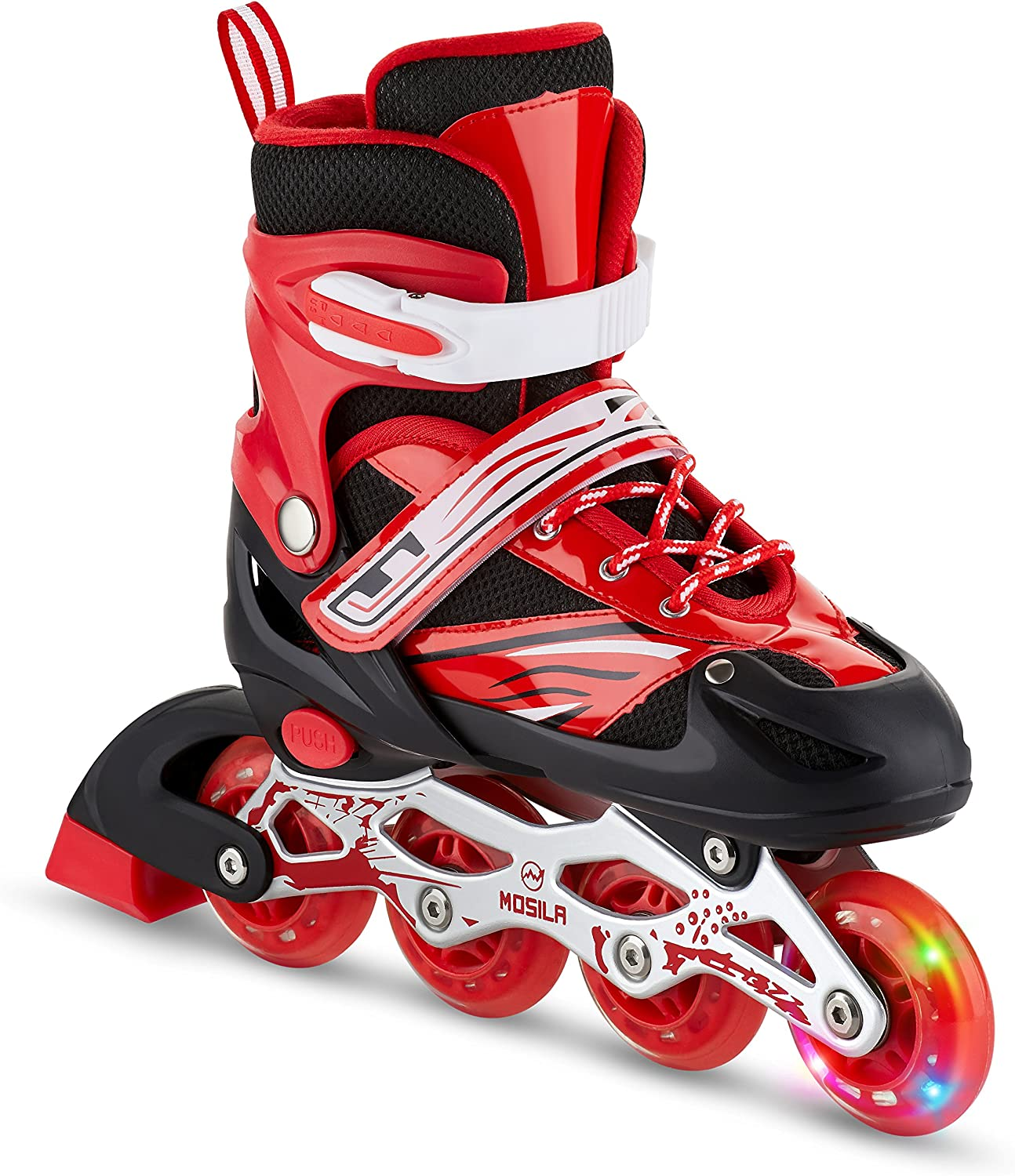 MOSILA Inline Skates Children Roller Skates for Girls and Boys Easily Adjustable,Fits US Kids Size 3-5,6-8 Expands As Your Child Grows-Light Up Front Wheel and Low Friction Wheels