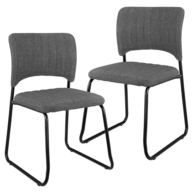 ee25c24645e26  en.casa ®  Set de 2 sillas de Elegante diseño - tapizadas en Piel  sintética - Blanco Mate - para salón