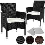 TecTake 2 Pezzi Sedie da esterno Sedia da Giardino poli rattan poltrona set + 2 Set di rivestimenti per cuscini, viti in acciaio inox marrone antico