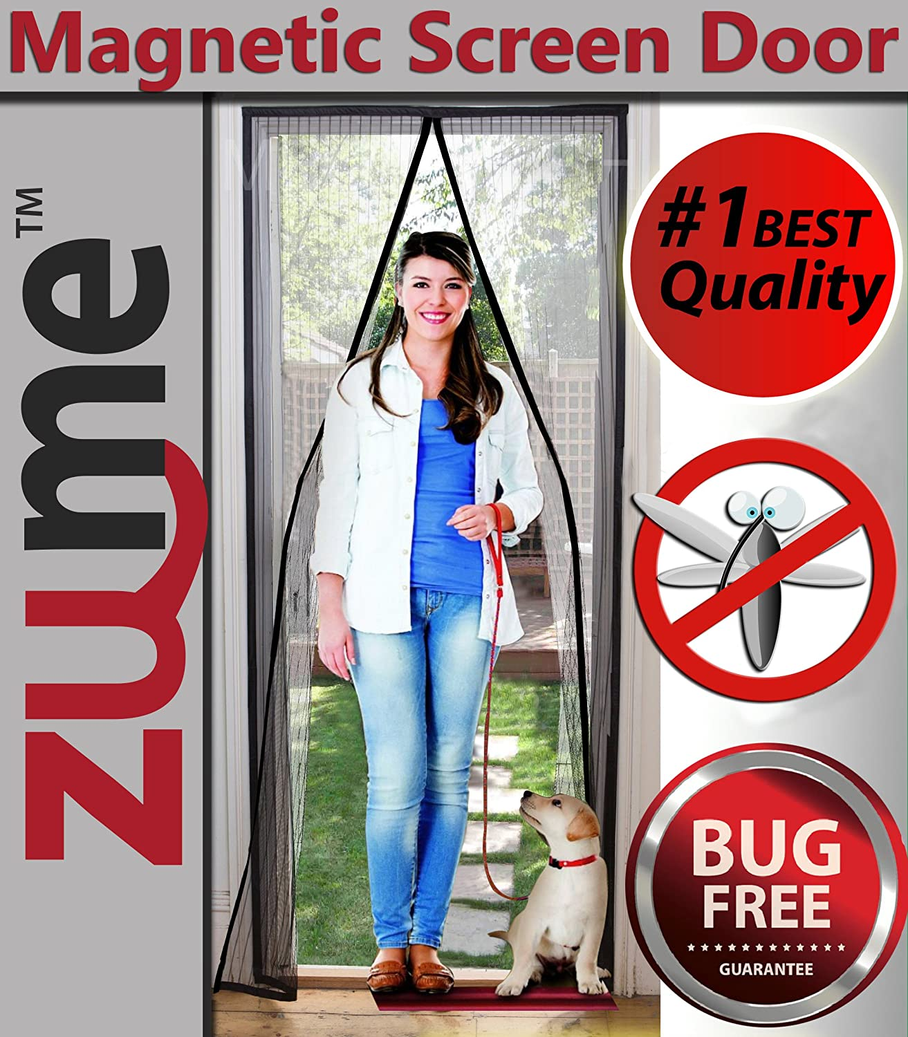 Magnetic screen door highest quality easy to install door screens magnetic screen door highest quality easy to install door screens with magnets size 40 x 83pet friendly full frame velcro premium mesh curtain keep vtopaller Image collections