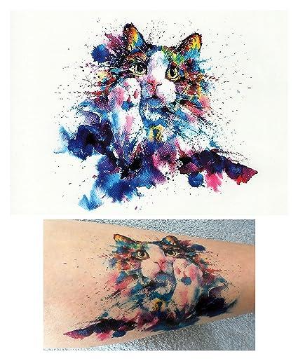 Tatuajes temporales tatoo falso – acuarela de gato: Amazon.es: Belleza