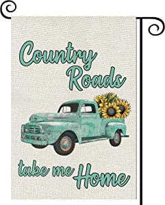 Balgardekor Country Roads take me Home Garden Flag Vertical Double Sided Truck Farmhouse Burlap Spring Summer Yard Outdoor Decor Home Decor (12.5 x 18, Truck Sunflower)
