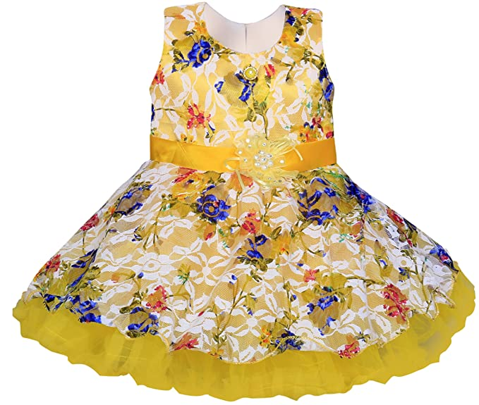 ddc7cca8b697 Mpc Cute Fashion Baby Girl s Print Soft Net Dresses for (Yellow