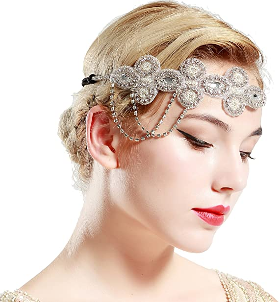 1920s Gatsby Jewelry- Flapper Earrings, Necklaces, Bracelets ArtiDeco Vintage 1920s Beaded Headband 1920s Headpiece with Crystal Great Gatsby Costume Accessories Roaring 20s Accessories £10.99 AT vintagedancer.com