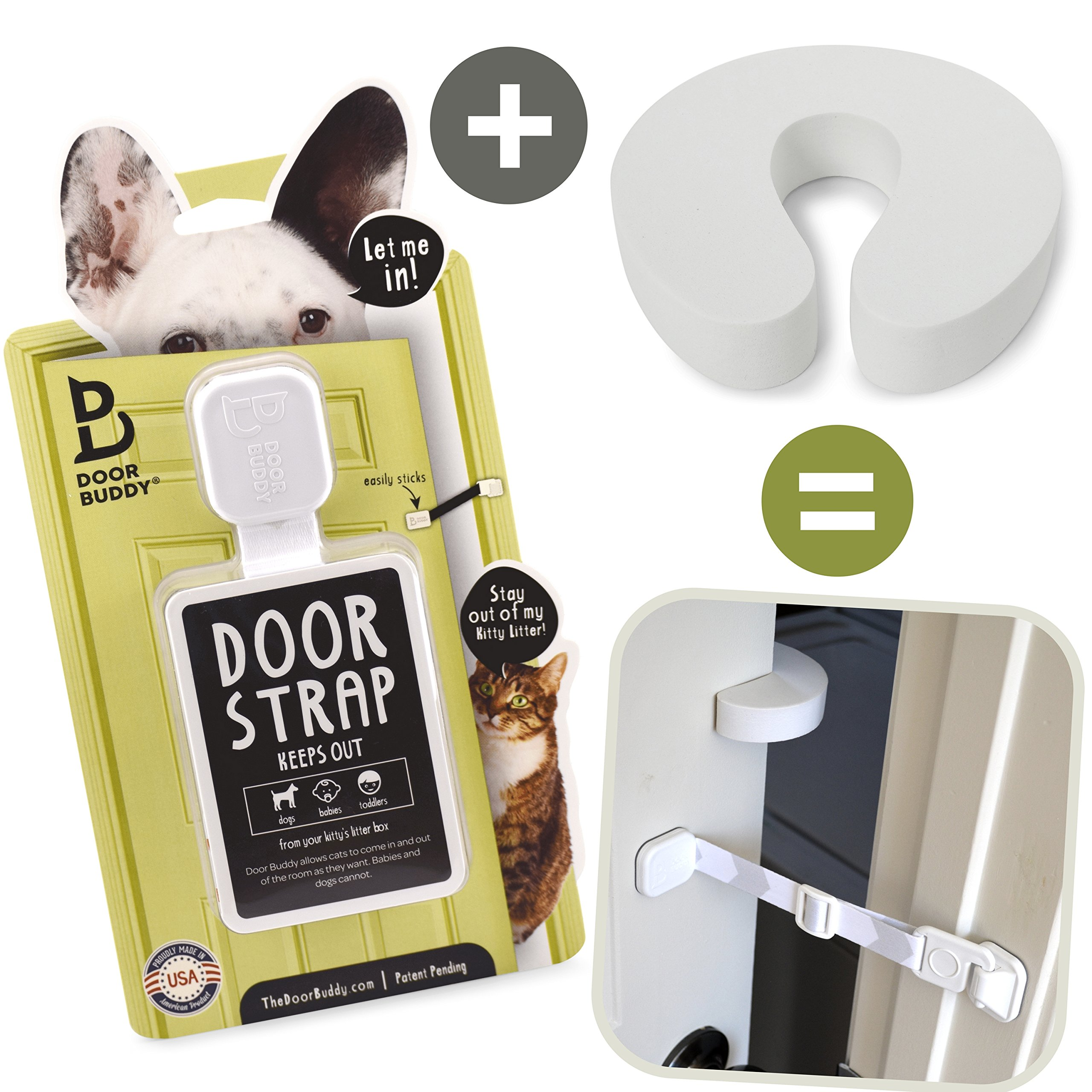 Door Buddy Door Latch Plus Door Stop. Keep Dog Out of Litter Box and Prevent