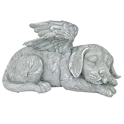 Design Toscano Dog Angel Pet Memorial Grave Marker Tribute Statue, 10 Inch, Polyresin, Stone Finish : Outdoor Statues : Garden & Outdoor