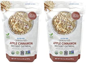 One Degree Sprouted Organic Instant Oatmeal Pack of 2 - Apple Cinnamon Instant Oatmeal 18 Ounce
