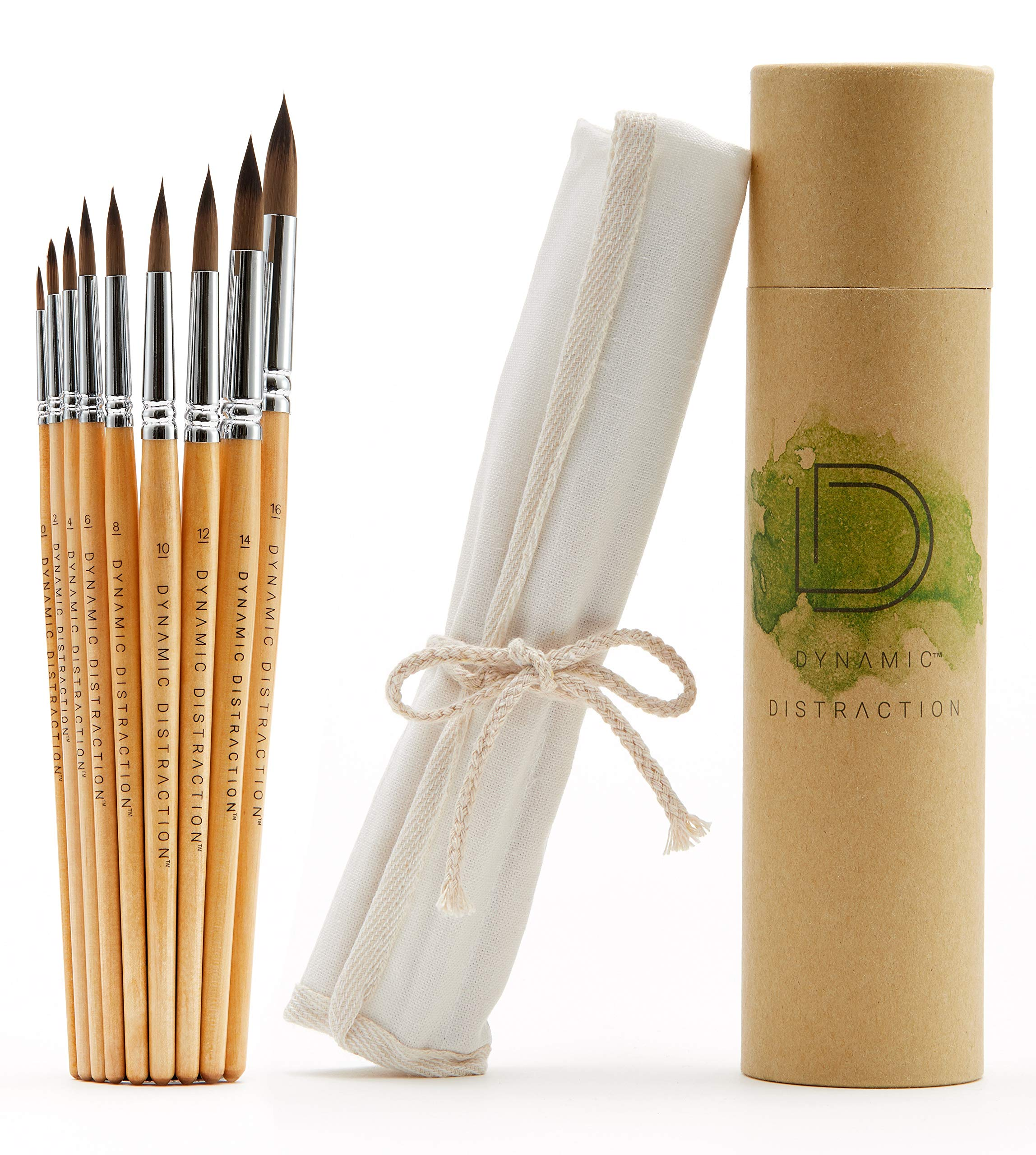 Dynamic Distraction Watercolor Brushes for Painting - Round Water Color Paint Brush Set of 9 - Comfortable Handle Size - Professional Artist Quality - Perfect for Watercolor, Acrylic and Gouache