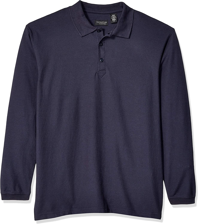 UltraClubs Mens Long-Sleeve Whisper Pique Polo