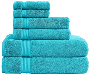 AmericanVeteranTowel Hotel & Spa Quality Super Absorbent & Soft, 6 Piece Turkish Towel Set for Kitchen & Decorative Bathroom Sets Includes 2 Bath Towels 2 Hand Towels 2 Washcloths, Aqua