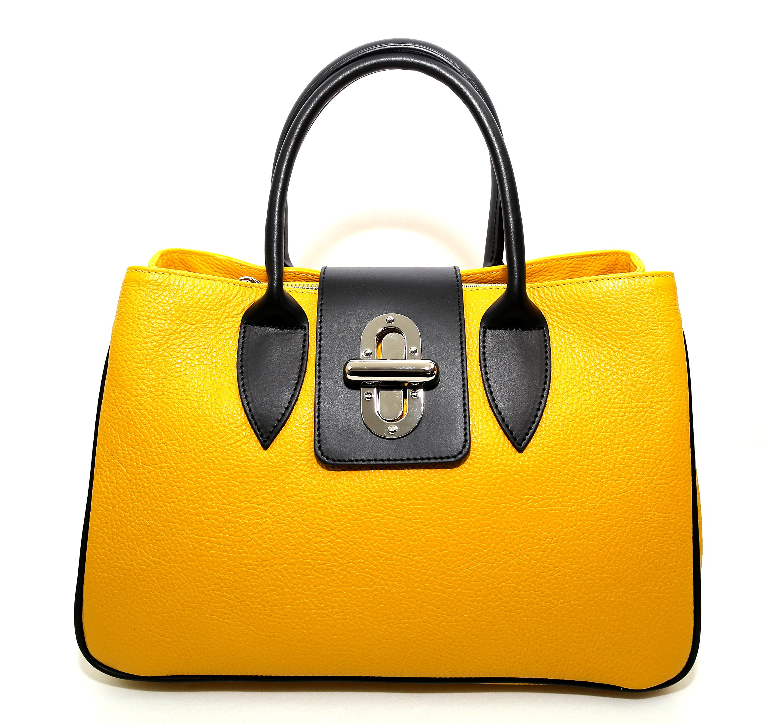 Woman Bag Arno, genuine Leather, Made in Italy, CREEO, Navy Blue (Navy Blue) (Yellow)