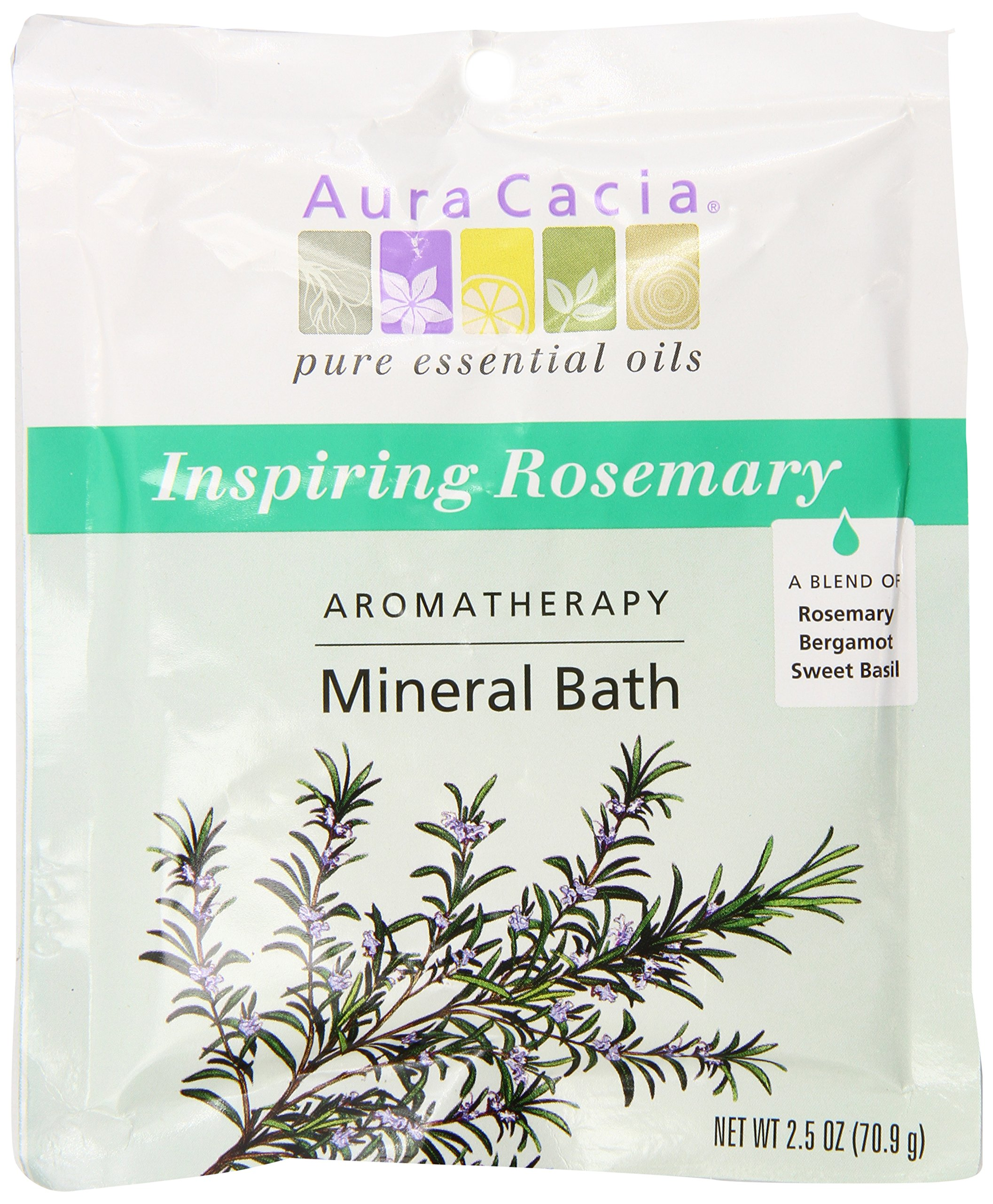 Aura Cacia Aromatherapy Mineral Bath, Inspiring Rosemary, 2.5 ounce packet (Pack of 3)