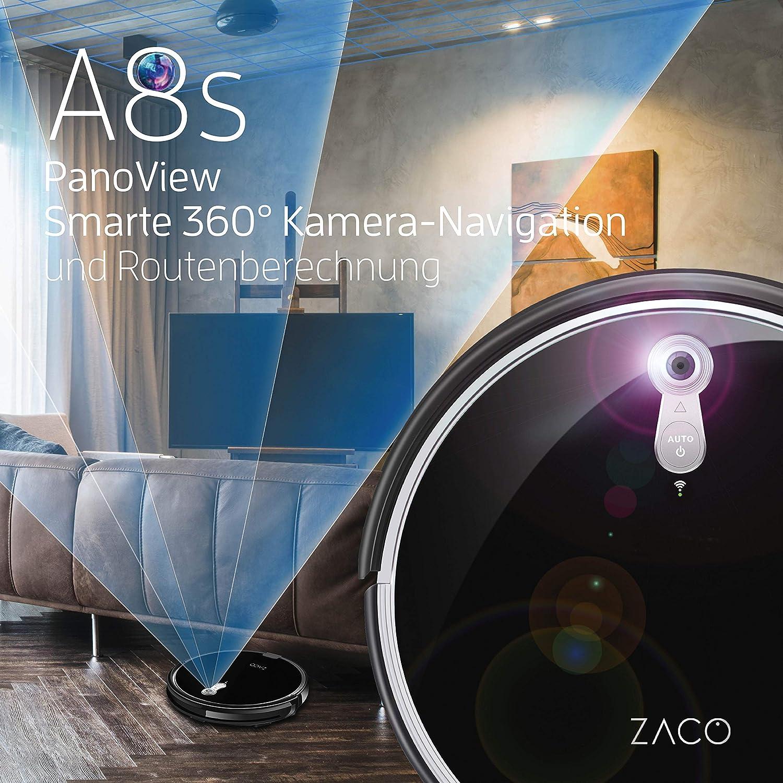 7,2 cm Nero Controllo da applicazione e Alexa protezione contro le cadute Pulizia o Aspirazione 22 W per pavimenti ZACO A8s Robot funzione 2 en 1 64 Decibel aspiratore automatico