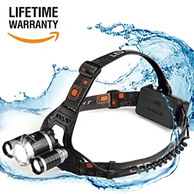 Vividled Waterproof Rechargeable LED Headlamp 6000 Cree Headlamp Flashlight; extraordinary for Walking, Running, Camping and Outdoor Sports