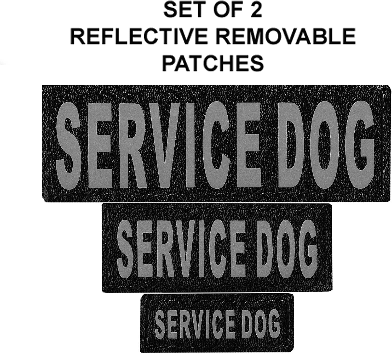 Set of 2 Service Dog Reflective Service Dog Removable Patches for Dog Harnesses & Vests.