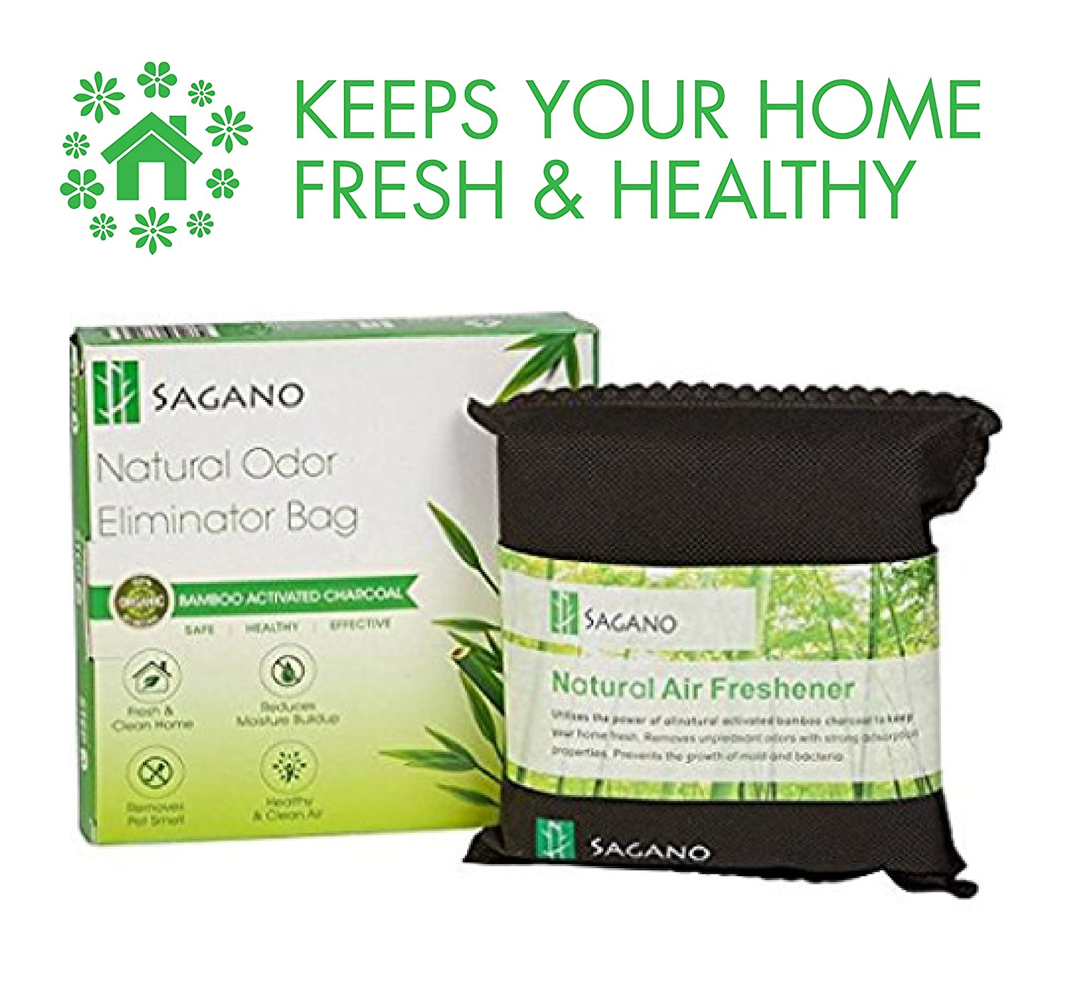Best Activated Charcoal Odour Eliminator Bag By Sagano - 200gram Bag - Car, Closet Air Freshener and Pet Odour Remover - Powerful and Natural Activated Charcoal To Keep Your Home Fresh and Healthy No Model