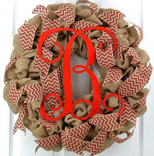 Navy Burlap Wreath Initial Wreath Monogrammed Wreath Nautical Decor