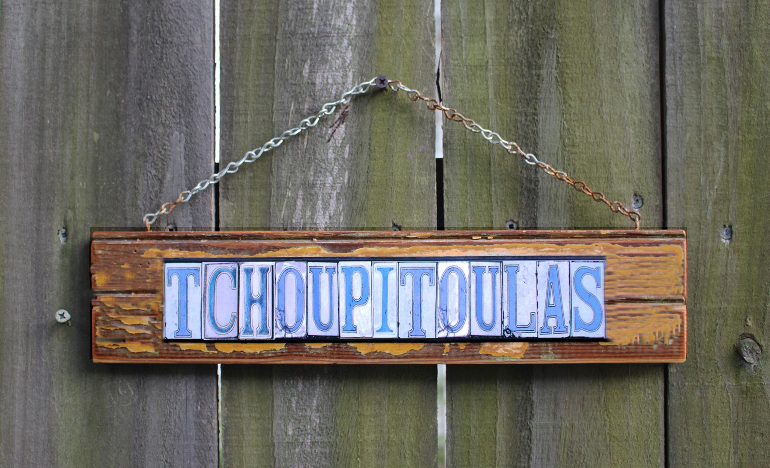 New Orleans Tchoupitoulas Street Tile lettering sign, salvage wood, mixed media. Street tile photographic images styled after original tile street signs.