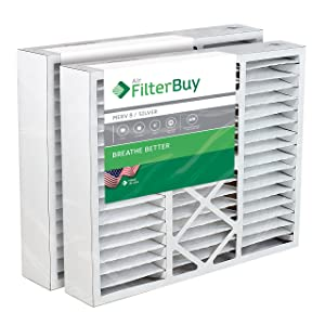 FilterBuy 20x25x5 Honeywell FC100A1037 Compatible Pleated AC Furnace Air Filters (Pack of 2). AFB Silver MERV 8.