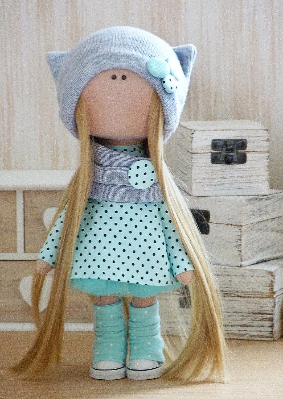 Amazon.com: 2 pieces Handmade doll Textile doll Fabric doll Rag doll ...