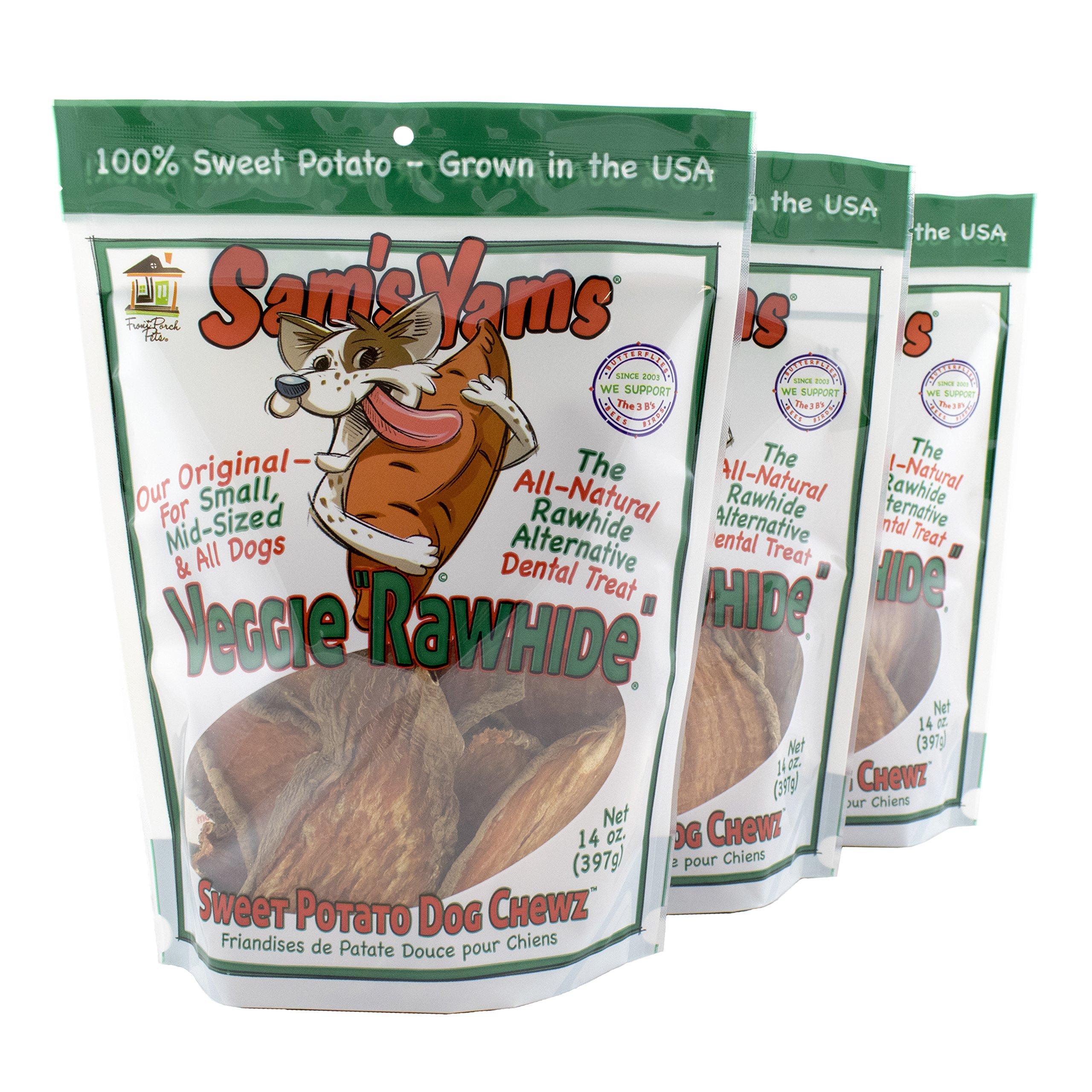 Front Porch Pets Sweet Potato Dog Chewz 14oz bags-Veggie Rawhide,3-Pack
