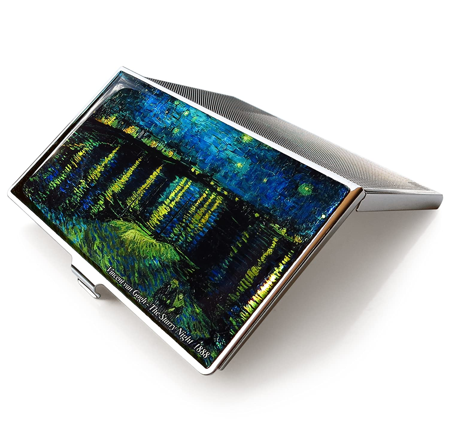Van Gogh Starry Night Over the Rhone Blue Business Credit Card Case Id Holder Metal Travel Wallet Mother of Pearl