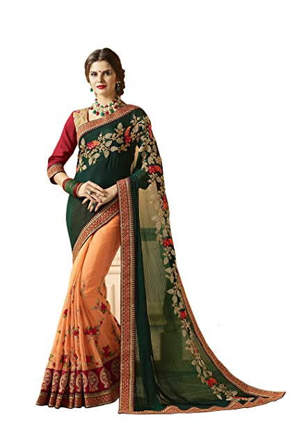 d659fe606f6cb7 ... Peach Color Satin Chiffon Fabric Heavy Embroidery Work With Lace Border  Half N Half Saree With Blouse Piece For Women  Amazon.in  Clothing    Accessories
