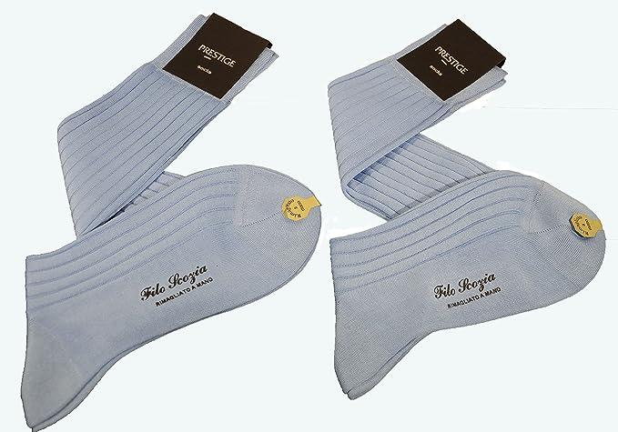(2 Pares) Calcetines de hombre largos a canalé hasta la rodilla 100% algodón