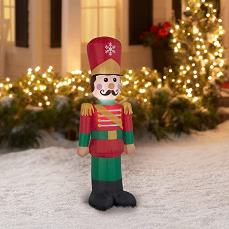 inflatable nutcracker soldier christmas airblown 4ft tall - Nutcracker Outdoor Christmas Decorations