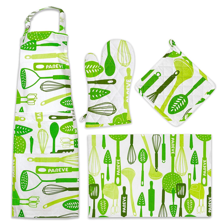 The Kosher Cook Kitchen Linen Set - Parve Green - Kitchen Apron - Tea Towel - Quilted Pot Holder - Oven Mitt - 100% Cotton - Color Coded Kitchen Tools