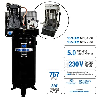 Industrial Air IV5076055 60 gallon 5 hp Two Stage Air Compressor - best 60 gallon air compressors
