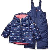 Osh Kosh Baby Girls Ski Jacket and Snowbib Snowsuit Outfit Set, Navy and Hearts, 12Mo