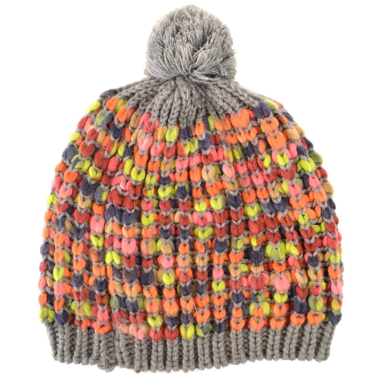 31159cb660b Chunky knit grey bobble hat with multi-coloured knit pattern  Amazon.co.uk   Clothing