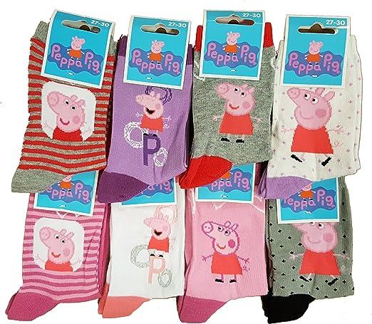 19//22, Pack de 6 asst 2 Chaussettes Enfant Fantaisie gar/Ã/§on//Fille Peppa Pig Mod/èle Photo Assorti Selon arrivage