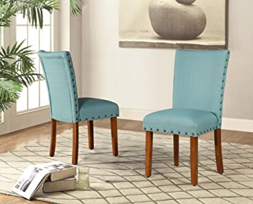 Roundhill Furniture Elliya Fabric With Nailheads Parsons Chairs, Teal, Set  Of 2