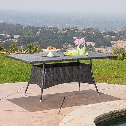Amazon Com Manteo Rectangular Grey Wicker Dining Table Kitchen