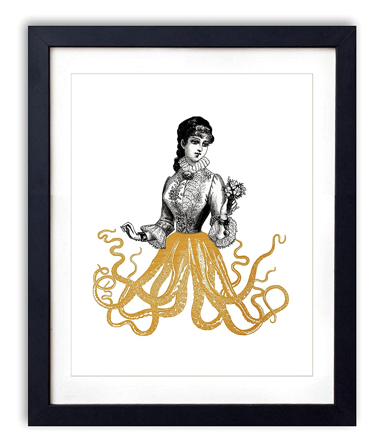 Gold Foil - Victorian Octopus Lady Upcycled Wall Art Vintage Dictionary Art Print 8x10 inches / 20.32 x 25.4 cm Unframed
