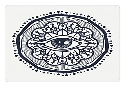 ambesonne occult pet mat for food and water, realistic retro eye pattern in  round eastern