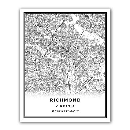 .com: squareious richmond map poster print | modern black and ...