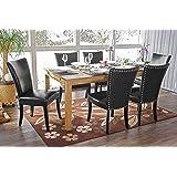 Lot de 6 chaises de salle à manger Chesterfield av rivets ~ similicuir noir, pieds foncés