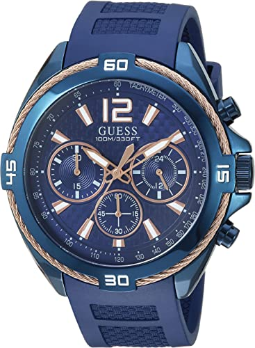 rivolta minerale audacia  Amazon.com: GUESS Comfortable Iconic Rose Gold-Tone + Blue Stain Resistant  Silicone Chronograph Watch. Color: Blue (Model: U1168G4): Watches