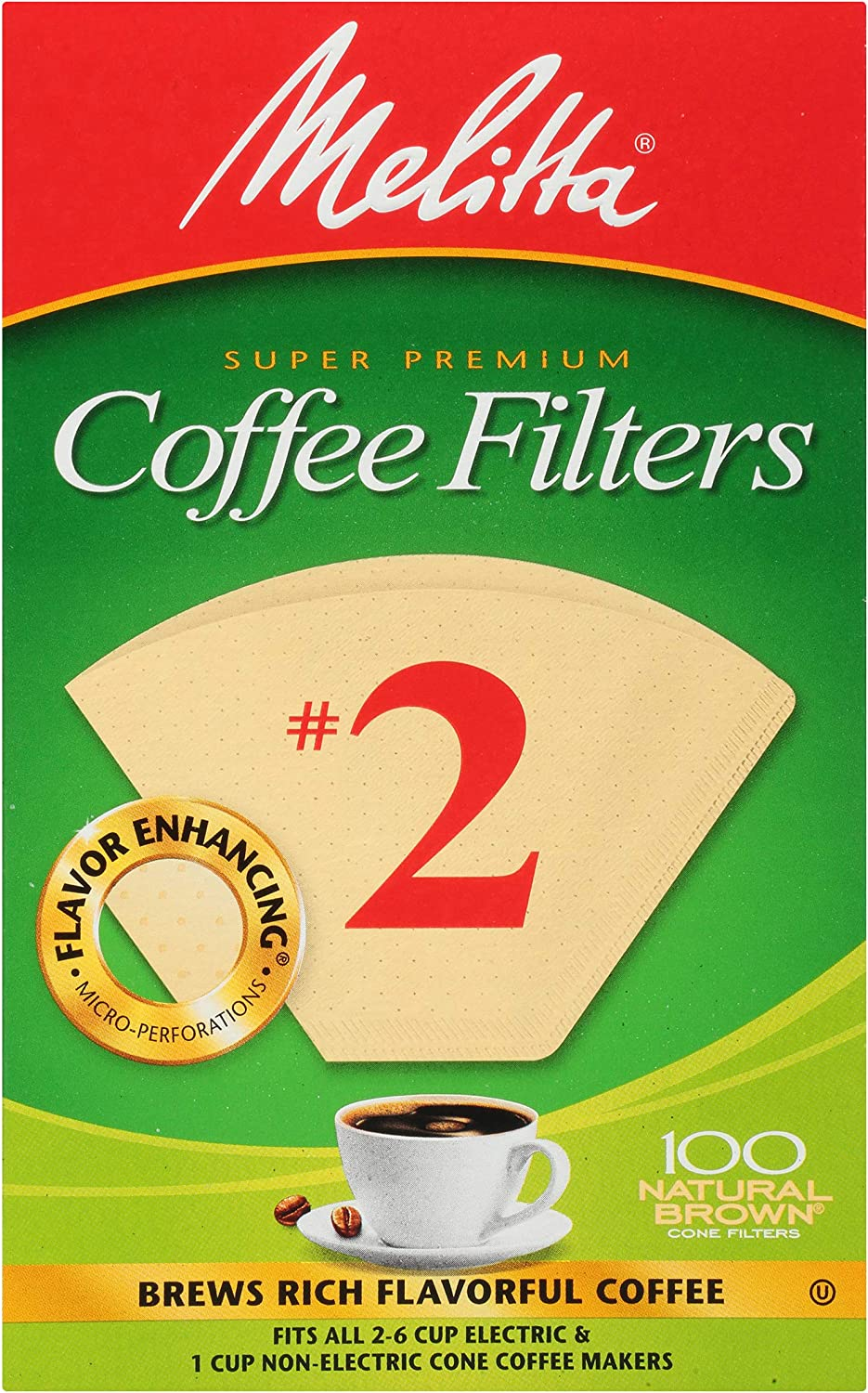 B001E5E0T2 Melitta No. 2 Unbleached Cone Coffee Filters, Natural Brown, 100 Count (Pack of 6) 91yNceDHmxL