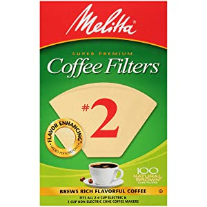 Melitta #2 Super Premium Cone Coffee Filters, Natural Brown, 100 Count (Pack of 6)