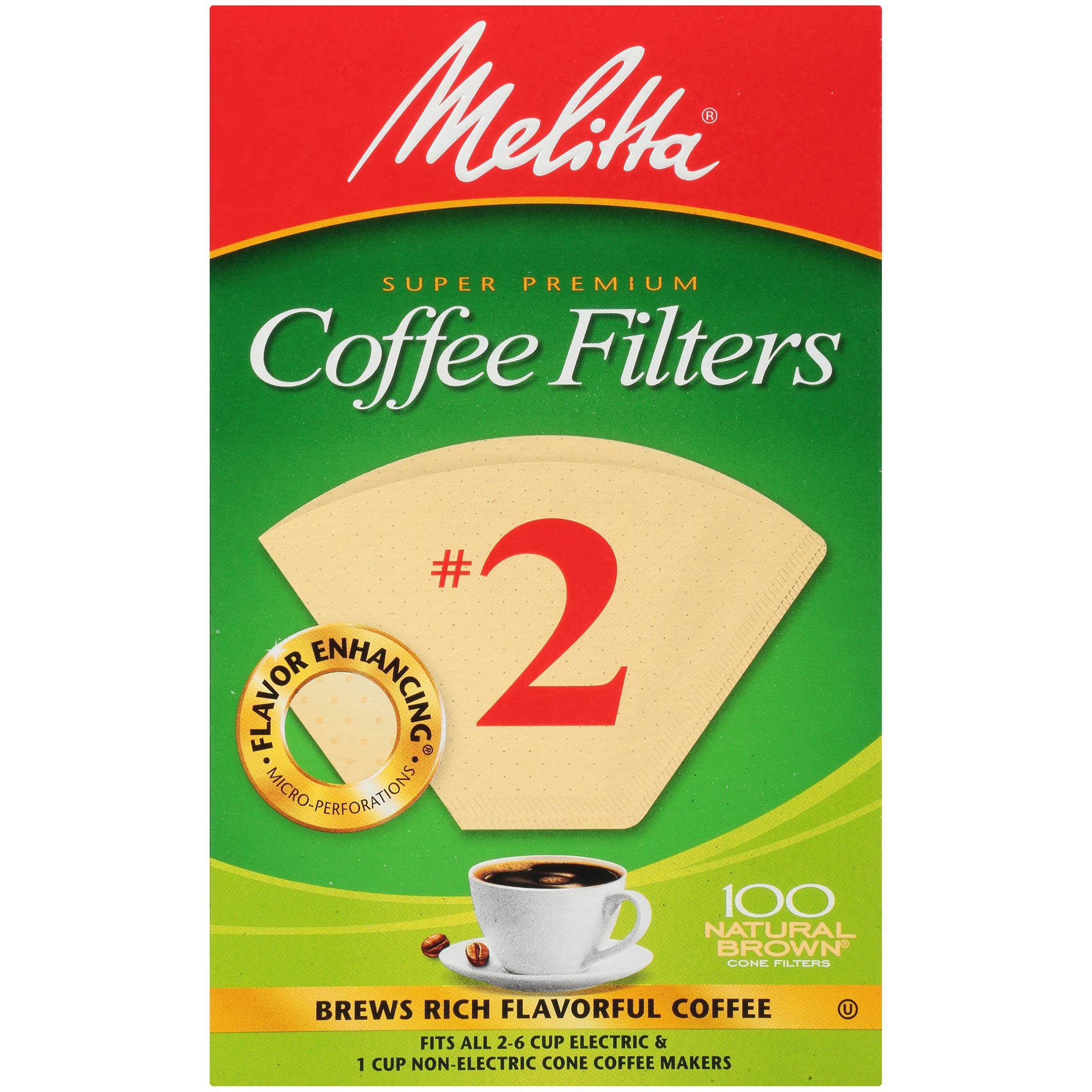 Melitta (63216C) #2 Super Premium Cone Coffee Filters, Natural Brown, 100 Count (Pack of 6) Replacement Coffee Maker Filters
