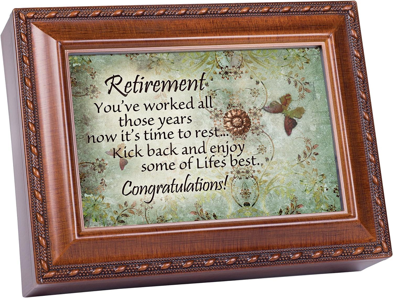 Cottage Garden Retirement Worked Hard Those Years Woodgrain Rope Trim Jewelry Music Box Plays Wonderful World